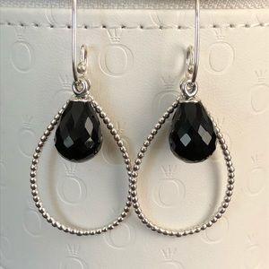 Pandora Retired Black Murano Compose Earrings